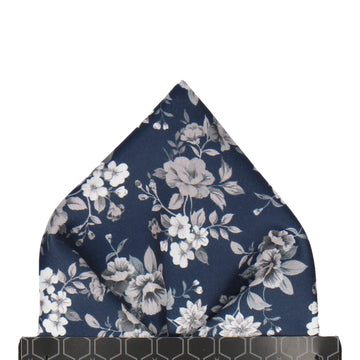 Navy Blue Floral Wedding Pocket Square