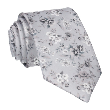 Platinum Grey Floral Wedding Tie