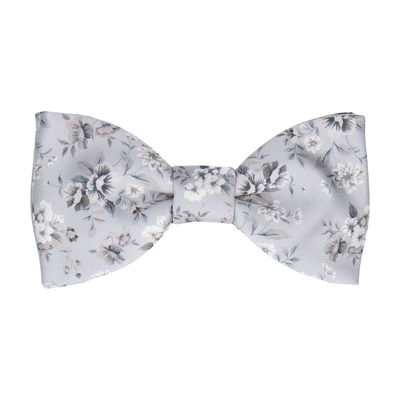 Platinum Grey Floral Wedding Bow Tie