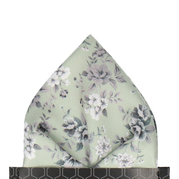 Sage Green Floral Wedding Pocket Square
