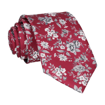 Bordeaux Red Floral Wedding Tie