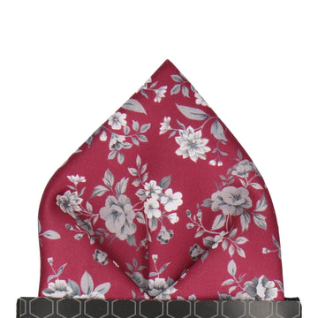 Bordeaux Red Floral Wedding Pocket Square