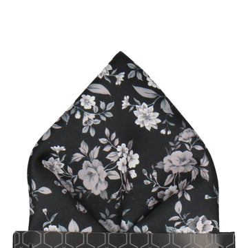 Black Floral Wedding Pocket Square