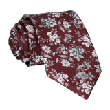 Maroon Burgundy Floral Wedding Tie
