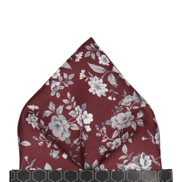 Maroon Burgundy Floral Wedding Pocket Square