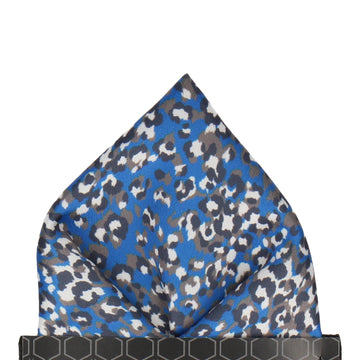 Royal Blue Leopard Print Pocket Square