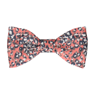 Coral Leopard Print Bow Tie