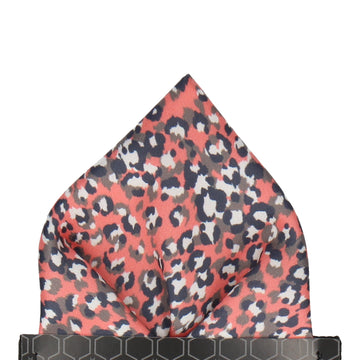 Coral Leopard Print Pocket Square