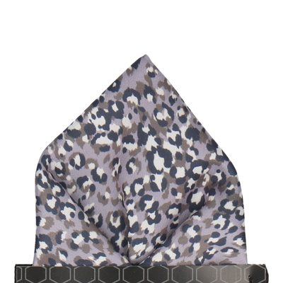 Lilac Grey Leopard Print Pocket Square