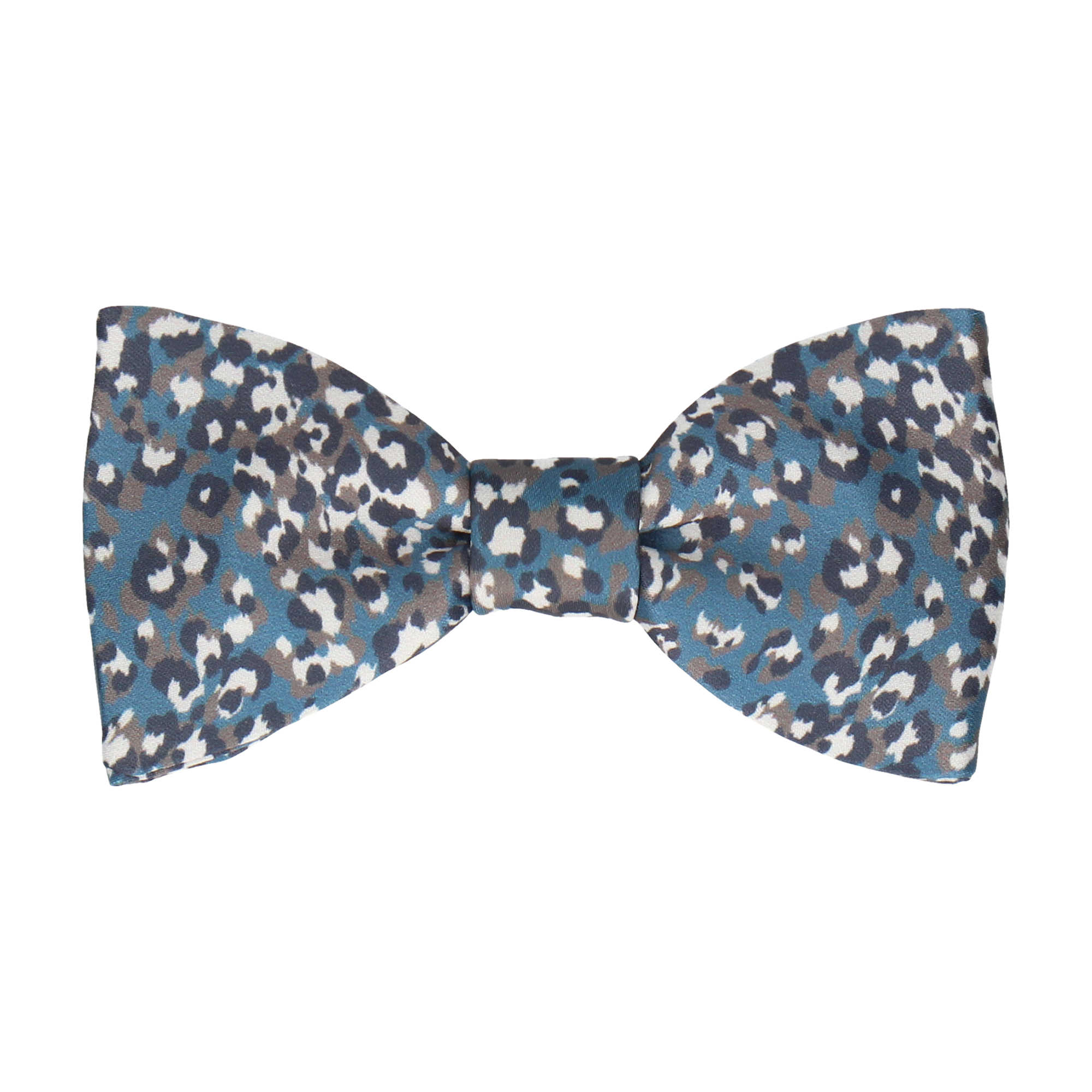 Leopard Print in Steel Blue Bow Tie