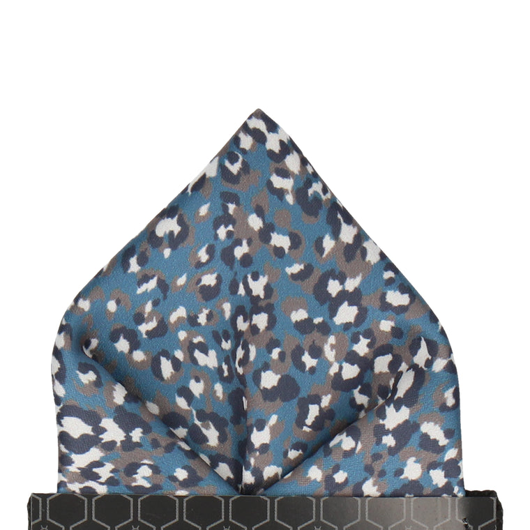 Steel Blue Leopard Print Pocket Square