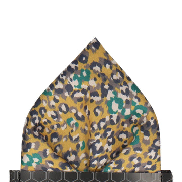Saffron Yellow Leopard Print Pocket Square