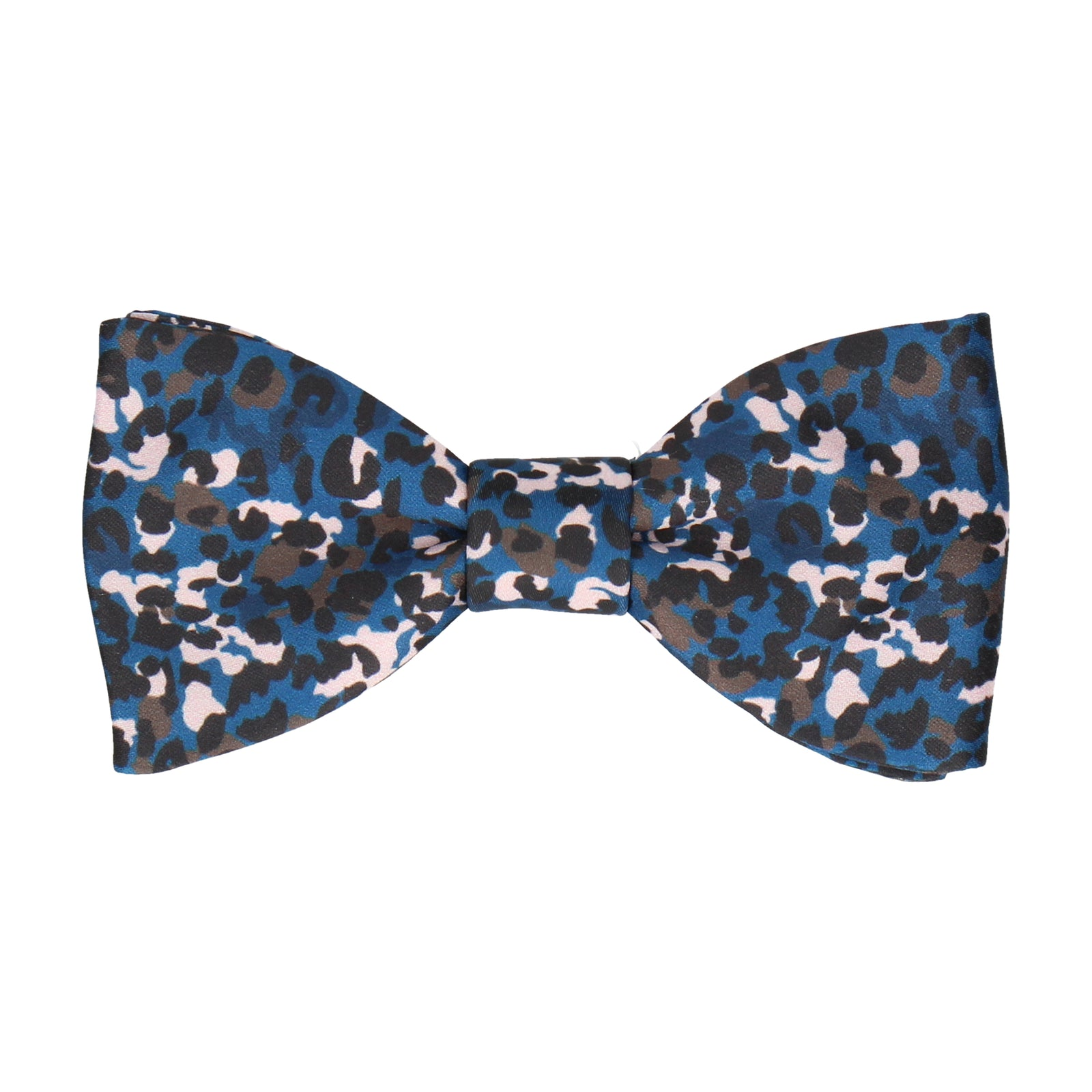Blue Modern Leopard Animal Print Bow Tie
