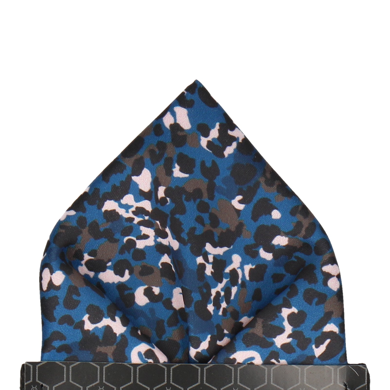 Blue Modern Leopard Animal Print Pocket Square