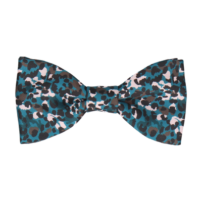 Teal Modern Animal Leopard Print Bow Tie