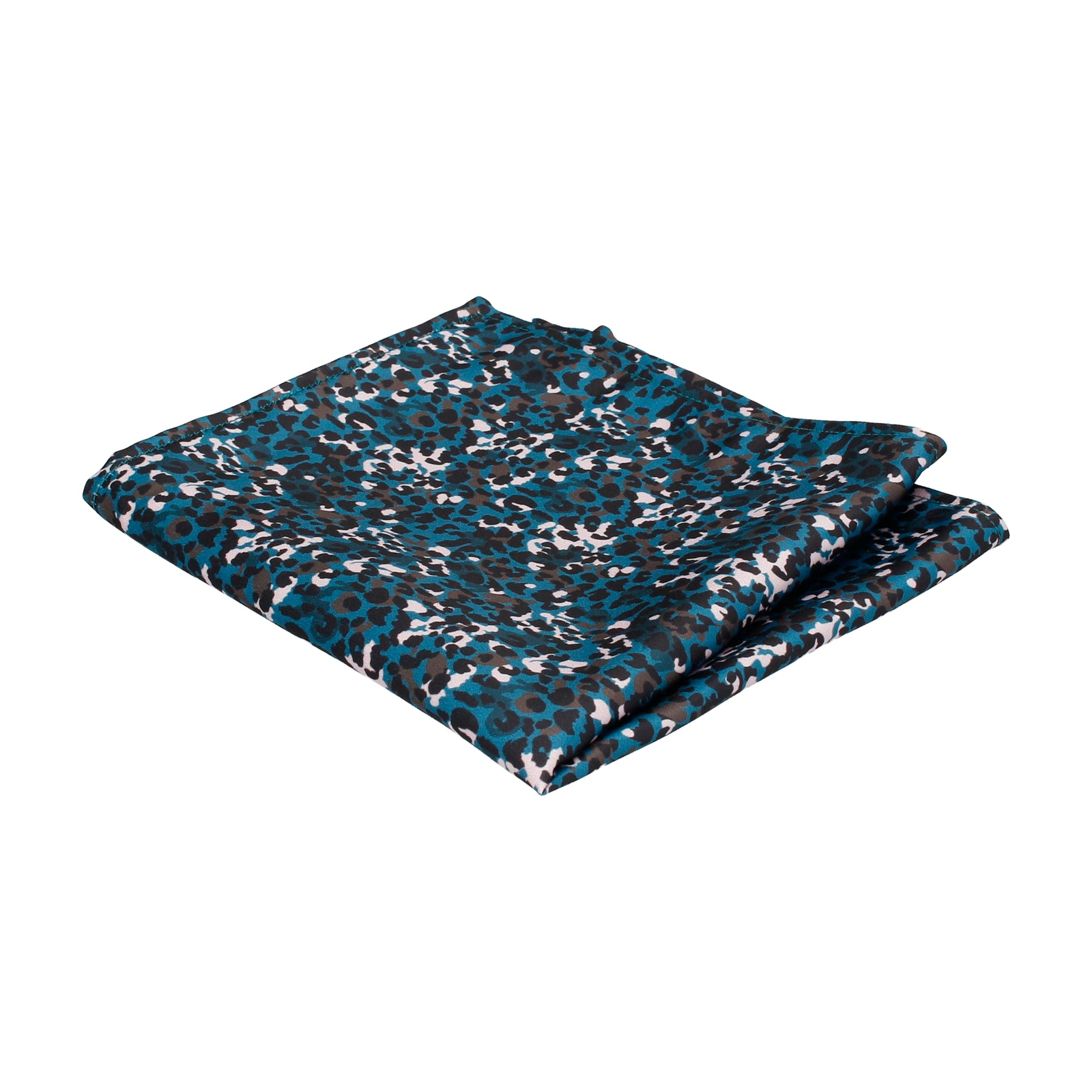 Teal Modern Animal Leopard Print Pocket Square