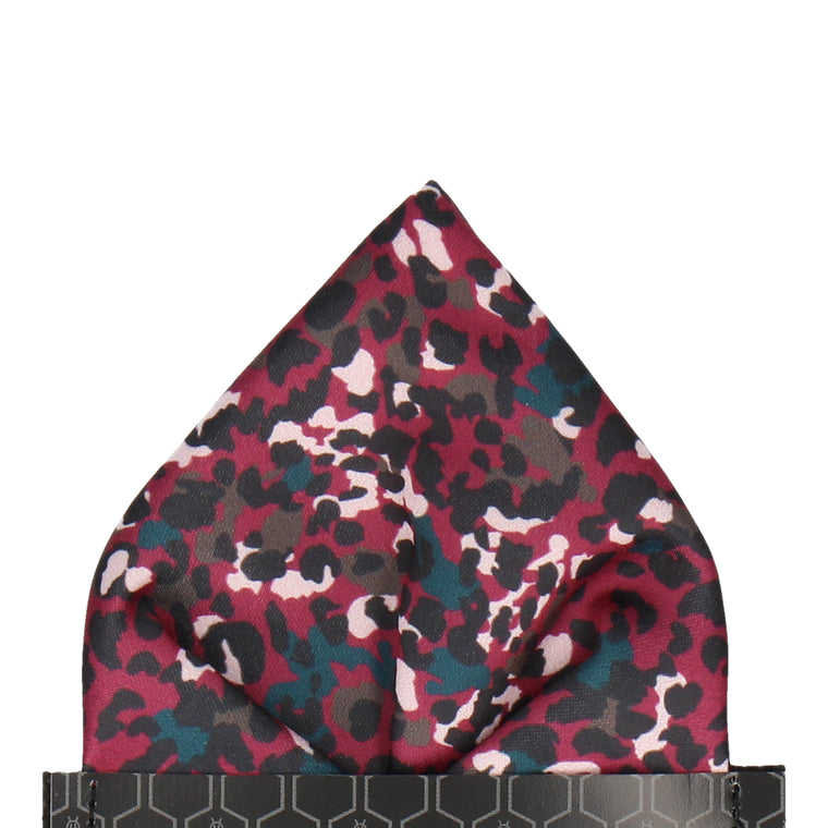 Mulberry Modern Leopard Print Pocket Square