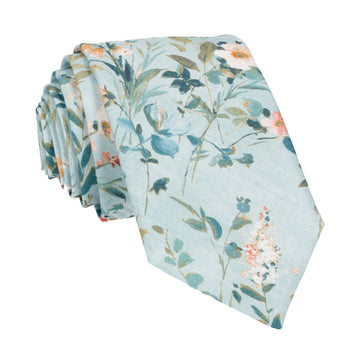 Blue Watercolour Asian Floral Tie