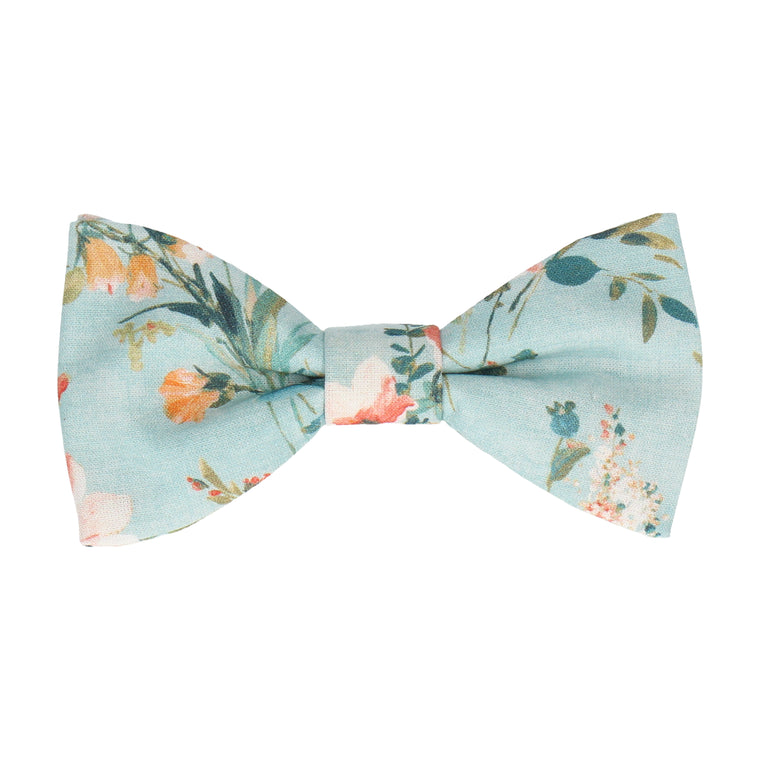 Blue Watercolour Asian Floral Bow Tie