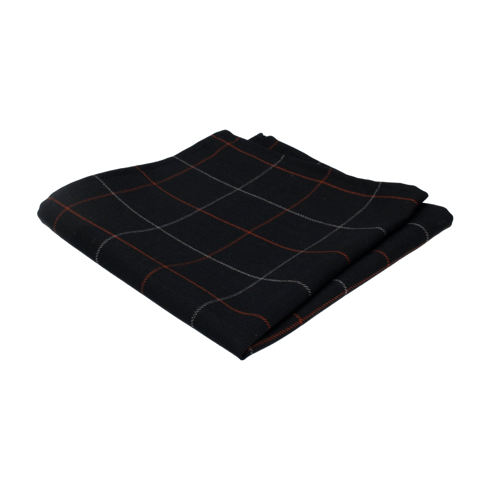 Fine Check Textured Black Pocket Square