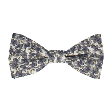 Blue Grey Floral Cotton Bow Tie