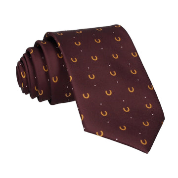 Equestrian Jockey Burgundy Red Horseshoe Tie