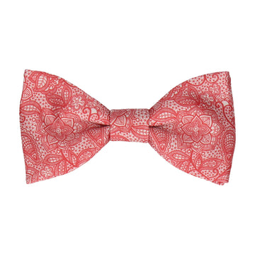 Intricate Red Floral Lace Print Bow Tie