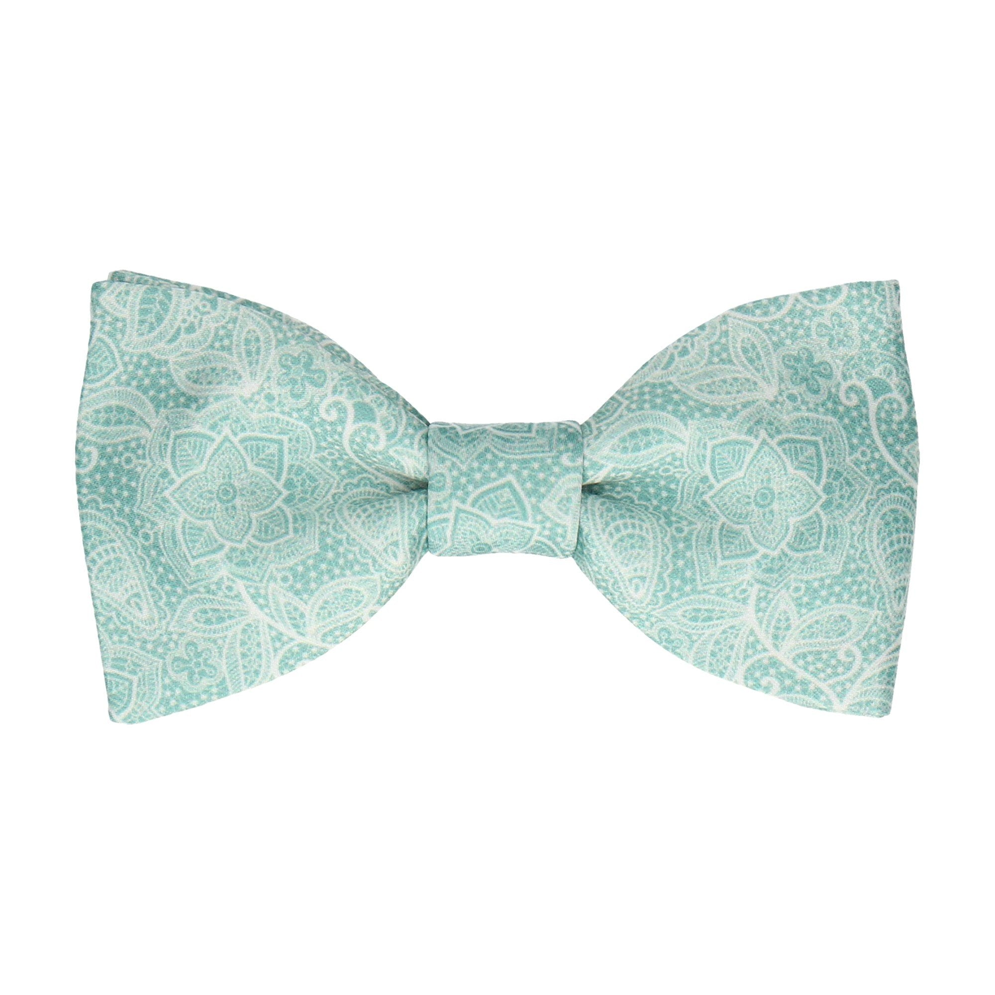 Intricate Green Floral Lace Print Bow Tie