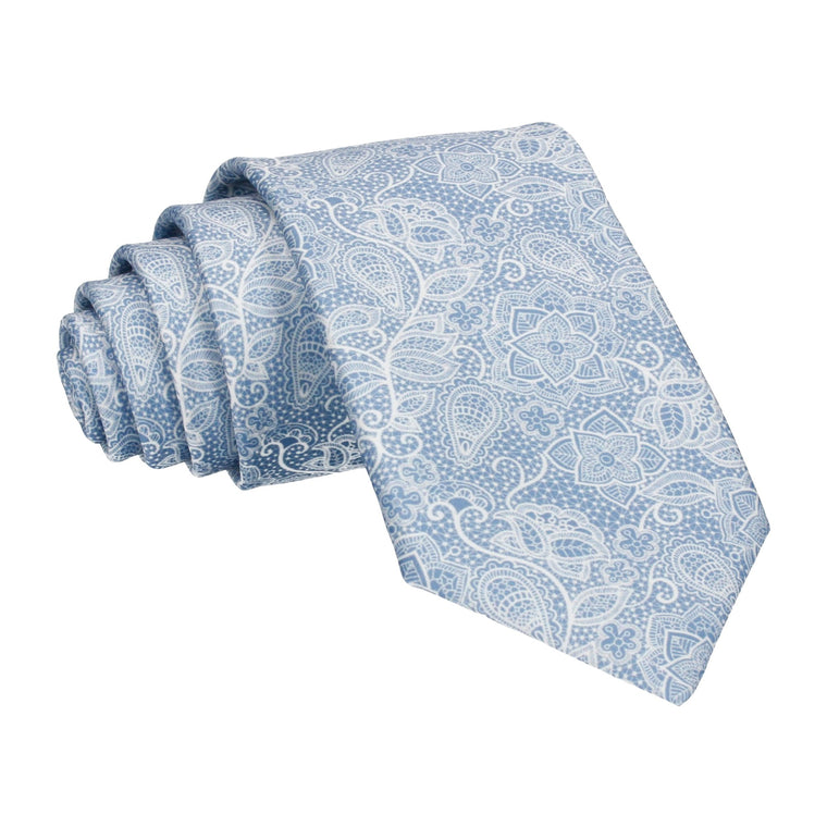 Intricate Dusty Blue Floral Lace Print Tie