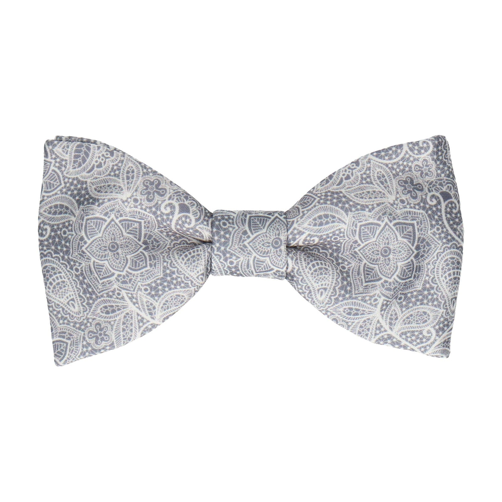 Intricate Dark Grey Floral Lace Print Bow Tie