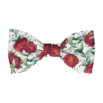Burgundy Red Peony, Eucalyptus and Berries Bow Tie