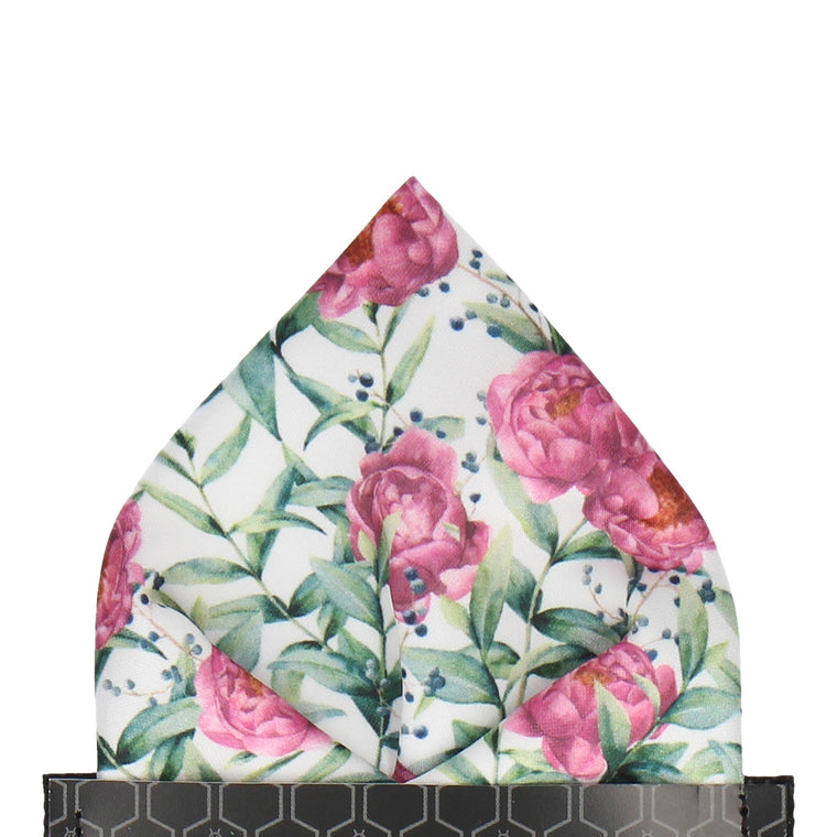 Pink Peony, Eucalyptus and Berries Pocket Square