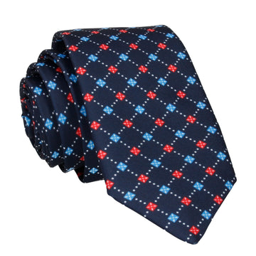 Cross Pattern Blue & Red Traditional Tie