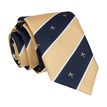Striped Fleur de Lis Soft Gold Tie
