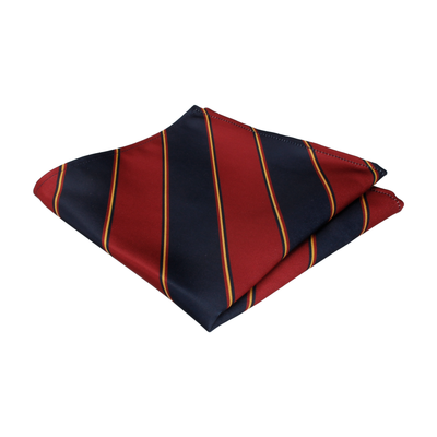 Red & Navy Regimental Stripe Pocket Square