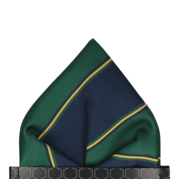 Green & Navy Regimental Stripe Pocket Square