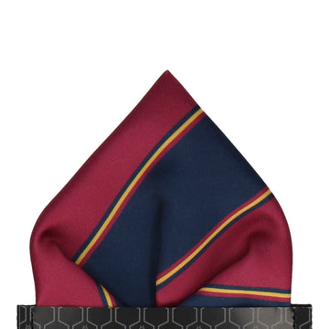 Mulberry & Navy Regimental Stripe Pocket Square