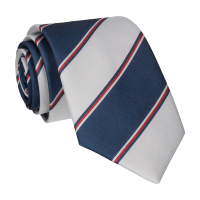 Grey & Navy Regimental Stripe Tie