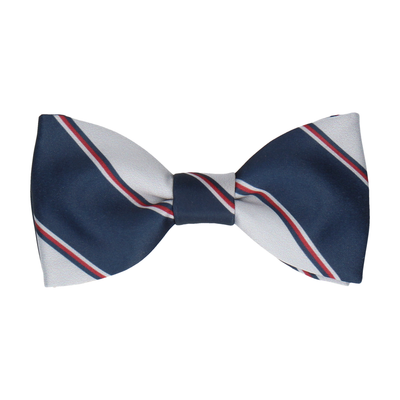 Grey & Navy Regimental Stripe Bow Tie