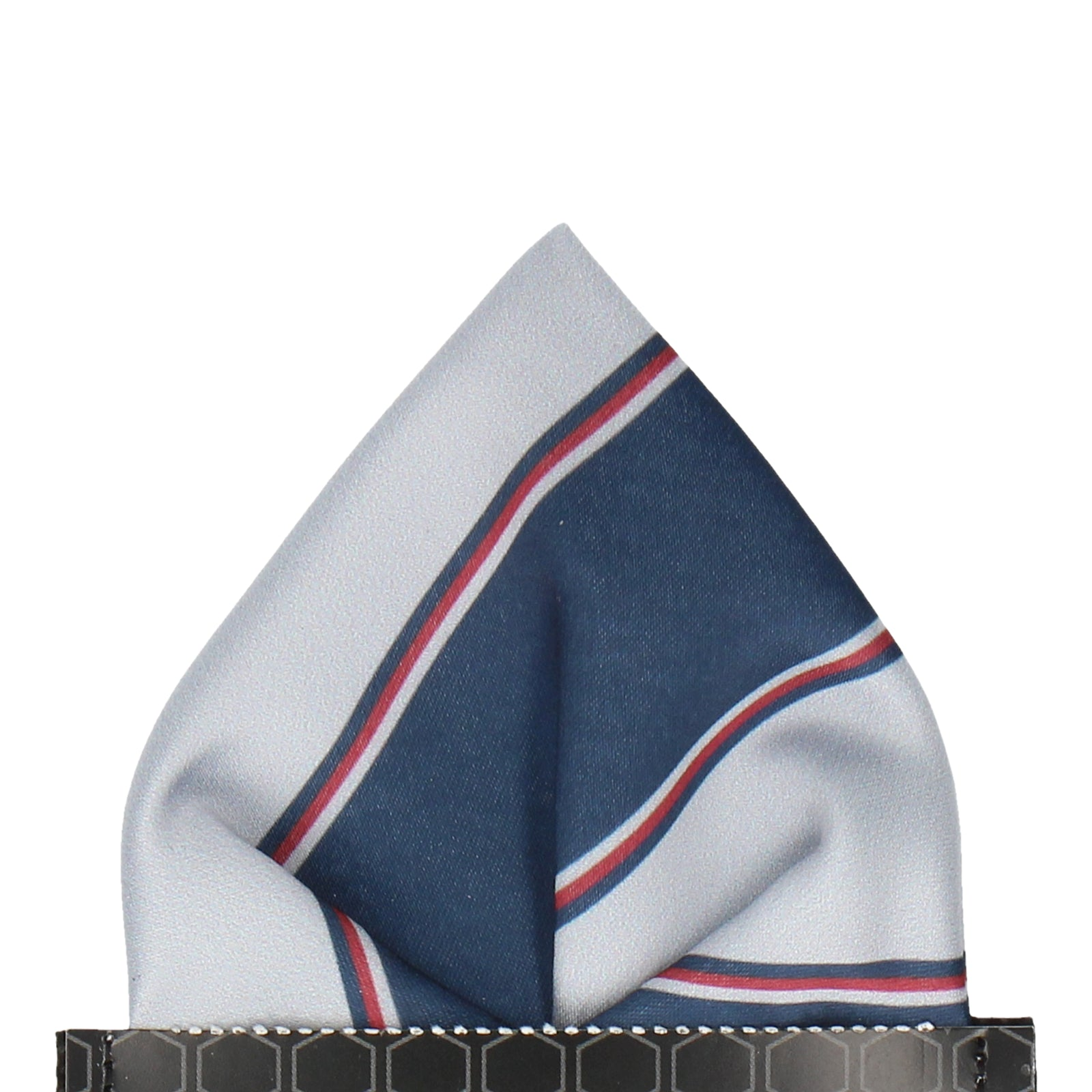 Grey & Navy Regimental Stripe Pocket Square