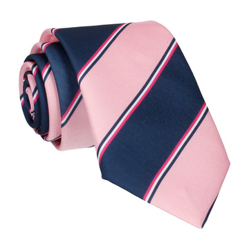 Pink & Navy Regimental Stripe Tie