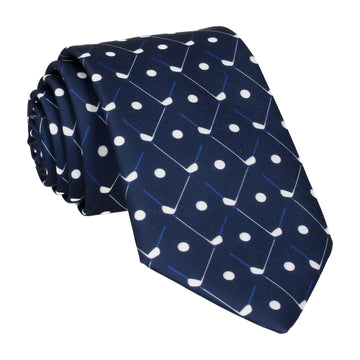 Golf Plaid Navy Blue Golfing Tie