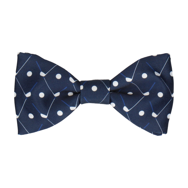 Golf Plaid Navy Blue Golfing Bow Tie