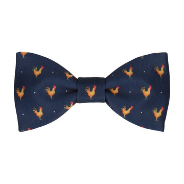 Rooster Print Navy Blue Bow Tie