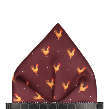 Maroon Red Rooster Print Pocket Square