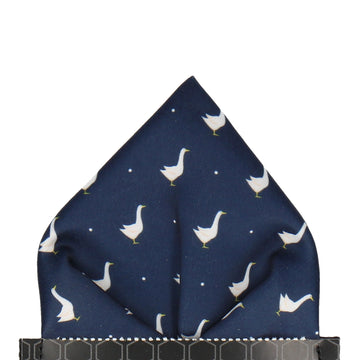 Geese in Navy Blue Pocket Square