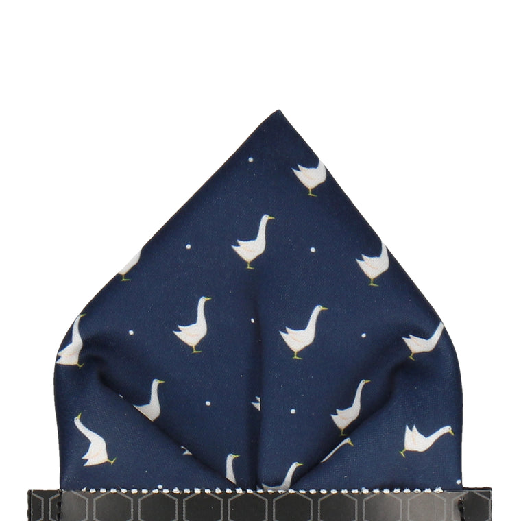 Goose Print Navy Blue Pocket Square