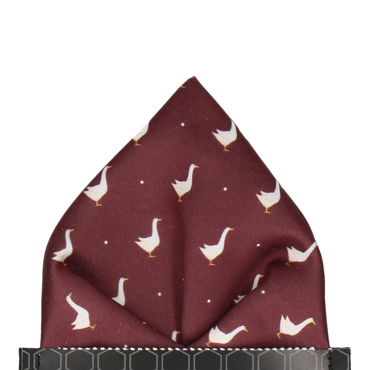 Geese in Maroon Pocket Square