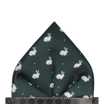 White Rabbits in Dark Green Pocket Square