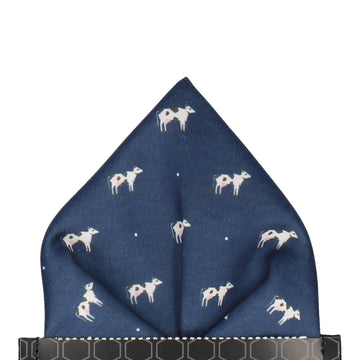 Navy Blue Cows Pocket Square